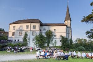 Music serenade in front of Pertenstein Castle, Traunreut, Chiemgau, Upper Bavaria, Bavaria, southern Germany, Germany, Europe