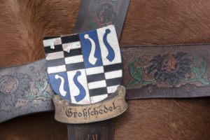 Coat of arms Grossschedel on a harness on the Georgiritt in Traunstein, Chiemgau, Upper Bavaria, Bavaria, southern Germany, Germany, Europe