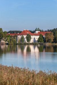 Seeon Abbey on Seeoner lake, Seeon, Seeon-Seebruck, Chiemgau, Upper Bavaria, Bavaria, Southern Germany, Germany, Europe
