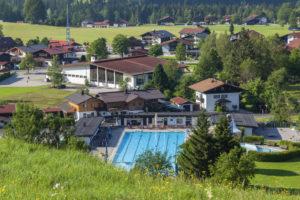Outdoor swimming pool in Reit im Winkl, Chiemgau, Upper Bavaria, Bavaria, Southern Germany, Germany, Europe