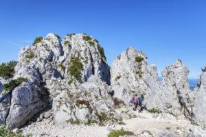 Felsen am Gipfel der Kampenwand, Chiemgau, Chiemgauer Alpen, Oberbayern, Bayern, Süddeutschland, Deutschland, Europa