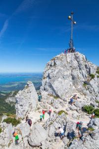 Gipfel der Kampenwand, Aschau, Chiemgauer Alpen, Chiemgau, Oberbayern, Bayern, Süddeutschland, Deutschland, Europa
