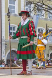 Traunsteiner sword dance at Georgiritt in the city center, Traunstein, Chiemgau, Upper Bavaria, Bavaria, southern Germany, Germany, Europe