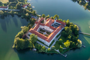 Cloister Seeon at Seeon Lake from above, Seeon-Seebruck, Chiemgau, Upper Bavaria, Bavaria, southern Germany, Germany, Europe