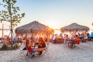 Beach Bar Strandbad in Übersee am Chiemsee, Chiemgau, Upper Bavaria, Bavaria, Southern Germany, Germany, Europe
