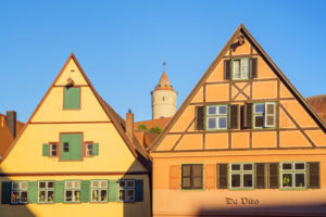 Houses in the old town of Dinkelsbühl, Middle Franconia, Franconia, Bavaria, Southern Germany, Germany, Europe