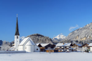 Church in Graswang in the Graswangtal, Ettal, Upper Bavaria, Bavaria, Germany