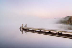 Jetty at Kirchsee, Sachsenkam, Upper Bavaria, Bavaria, Germany
