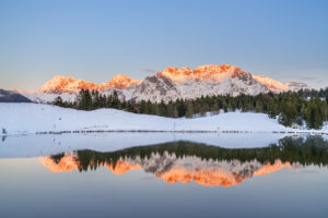 Reflection of the Karwendel in Wildensee, Mittenwald, Werdenfelser Land, Upper Bavaria, Bavaria, southern Germany, Germany, Europe