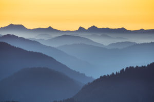View from the summit of Roßstein (1698m) to sunrise, Tegernsee Mountains, Mangfall Mountains, Upper Bavaria, Bavaria, Southern Germany, Germany, Europe