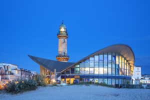 View from the beach to the lighthouse and Teepott in Warnemünde, Hanseatic City of Rostock, Baltic Sea Coast, Mecklenburg-Western Pomerania, Northern Germany, Germany, Europe