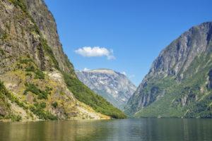 View into the Nærøyfjord, branch of the Sognefjord, Sogn og Fjordane, Norway