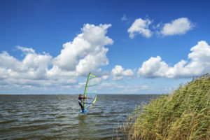 Windsurfer on the Barther Bodden, Barth, Fischland-Darß-Zingst, Mecklenburg-Western Pomerania, Germany, Europe