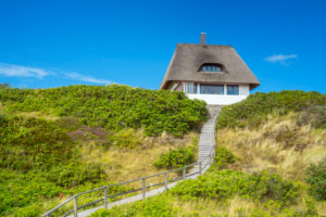 Thatched-roof house in Hörnum, Sylt Island, North Friesland, Schleswig-Holstein, North Germany, Germany, Europe