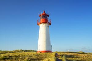 Leuchtturm List West am Ellenbogen, Insel Sylt, Nordfriesland, Friesland, Schleswig-Holstein, Norddeutschland, Deutschland, Europa