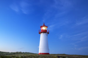 List West lighthouse at the Ellenbogen, Sylt Island, North Friesland, Schleswig-Holstein, North Germany, Germany, Europe
