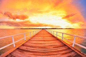 Wooden Jetty at Sunset, Urangan Pier, Hervey Bay, Queensland, Australia