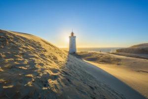 Lighthouse and Dune Rubjerg Knude with Sun, Løkken, Lokken, North Jutland, Denmark