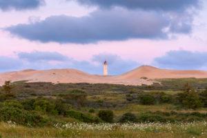 Lighthouse and Dune at Dawn, Rubjerg Knude, Løkken, Lokken, North Jutland, Denmark