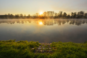 River Main at sunrise, Himmelstadt, Franconia, Bavaria, Germany