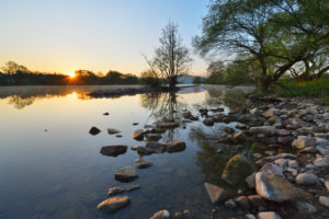 River Main at sunrise, Woerth am Main, Churfranken, Franconia, Bavaria, Germany