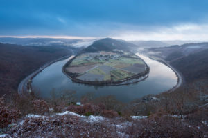Loop of river Saar in winter, Hamm, Saar Valley, Saarland, Germany