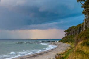 Baltic sea beach with storm clouds in the evening, Nienhagen, Baltic Sea, Western Pomerania, Mecklenburg-Vorpommern, Germany