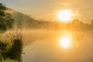 River Main with fog at sunrise, Miltenberg, Spessart, Franconia, Bavaria, Germany