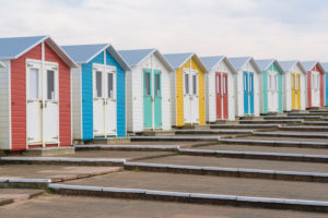 Colorful beach houses on Summerleaze Beach, Bude, Cornwall, South West England, England, United Kingdom, Europe
