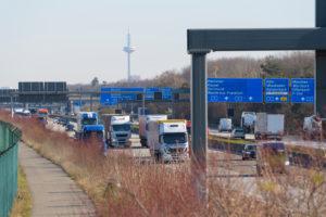 Autobahn, A5, television tower, Frankfurt am Main, Hessen, Germany