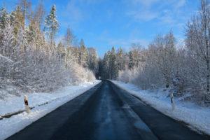 Road, forest, winter, Odenwald, Baden-Württemberg, Germany