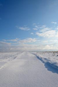 Dirt road, winter, Gottersdorf, Odenwald, Baden-Württemberg, Germany