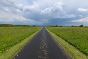 Road, thunderstorm, spring, Koppelhutweg, Hausen, Lange Rhön, Rhön, Bavaria, Germany