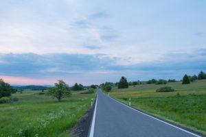 Road, sunrise, spring, Oberelsbach, Lange Rhön, Rhön, Bavaria, Germany