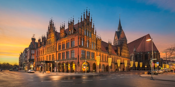 Old town of Hannover, Germany at night