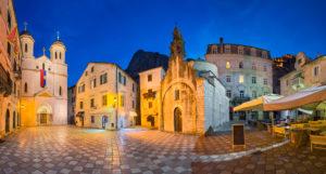 Night panorama of the old town of Kotor, Montenegro