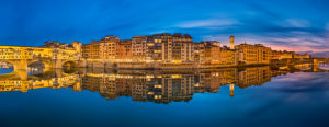 Sunset panorama of the riverside in Florence, Italy
