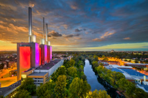 Aerial view of the Linden power station in Hannover, Germany