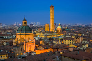 Night skyline of Bologna, Italy with two famous leaning towers
