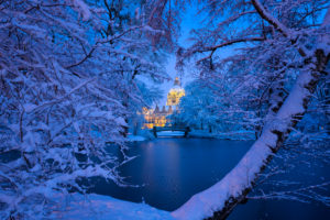 Winter landscape in front of the City Hall of Hannover, Germany