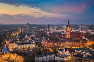 Aerial view of the old town of Hannover, Germany