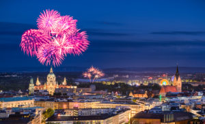 Skyline of Hannover, Germany at night with fireworks