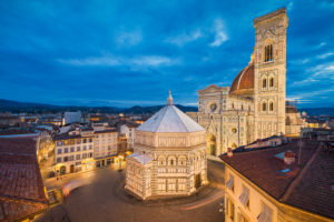Night skyline of Florence, Italy with the Santa Maria del Flore cathedral