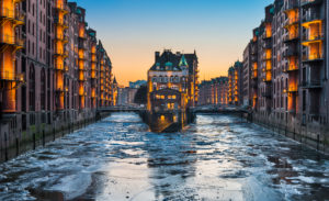 The famous Speicherstadt in Hamburg, Germany during winter