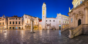 Panorama of the old town of Dubrovnik at night, Croatia