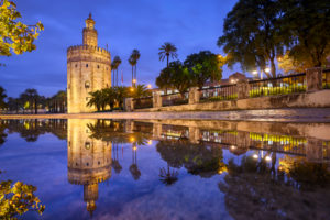Torre del Oro in Seville, Andalusia, Spain at night