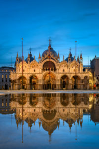 Piazza San Marco in Venice, Italy during Acqua Alta flooding