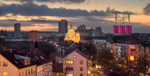 Panoramic view of Hannover, Germany during sunset