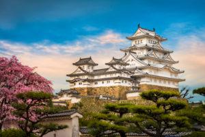 Himeji Castle with cherry flowers, Japan