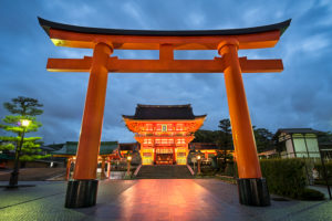 Fushimi Inari Taisha Shrine in Kyoto, Japan at night